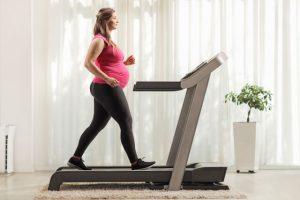 pregnant woman on a treadmill