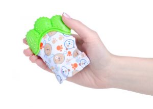 soothe a teething baby with toy mittens