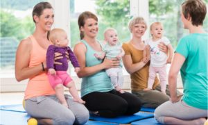 moms exercising with babies